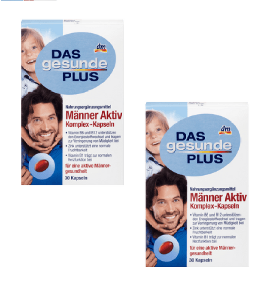 2x Packs Das Gesunde Plus Men Active Complex - 60 Capsules - Eurodeal.shop