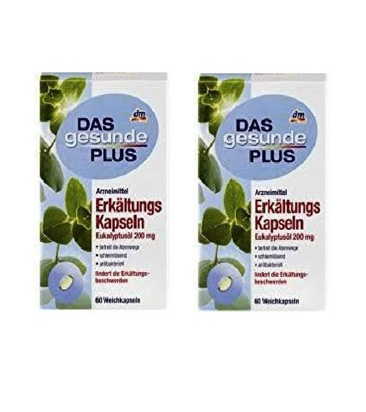 2x Packs Das Gesunde PLUS Cold Capsules with Eucalyptus Oil 200 mg - Eurodeal.shop