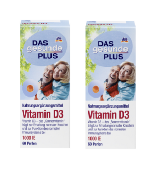 2x Packs Das Gesunde Plus Vitamin D3 Pearls, (120 Pearls) - Eurodeal.shop