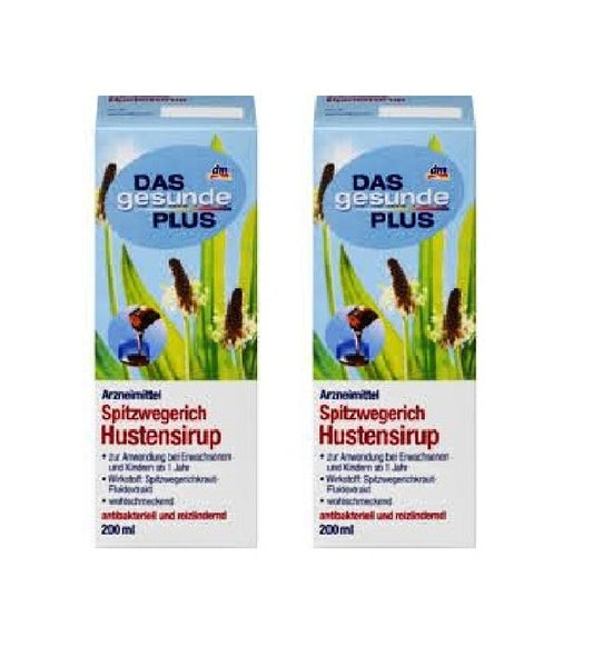 2x Packs Das Gesunde PLUS Herbal (Spitzwegerich) Cough Syrup, 200 ml each - Eurodeal.shop
