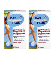 2x Packs DAS Gesunde PLUS Magnesium Dragees 400, 60 per pack - Eurodeal.shop