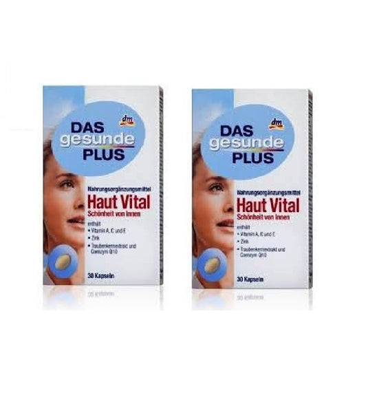 2x Pack Das Gesunde PLUS Skin Vital with Hyaluronic Acid Capsules - Eurodeal.shop