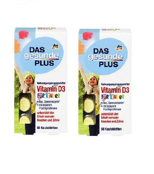 2x Packs Das Gesunde PLUS Vitamin D3 Chewable Tablets for Children - Eurodeal.shop