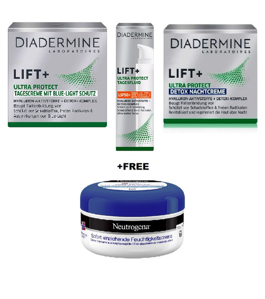 Diadermine Lift+ Ultra Protect Day, Detox Night Care Cream, Ultra Protect Day Fluid LSF50 +FREE Neutrogena Deep Moisture Immediate Absorbing Body Cream - 200 ml