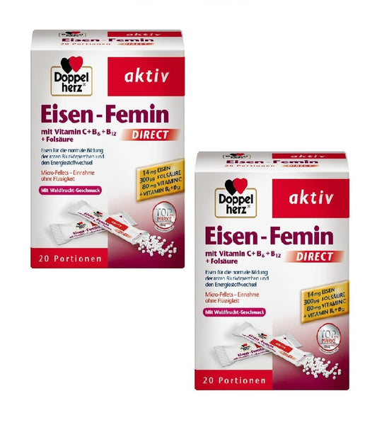 2x Pack DoppelHerz Active Iron-Femin with Vitamin C+B6+B12+Folic Acid - Eurodeal.shop
