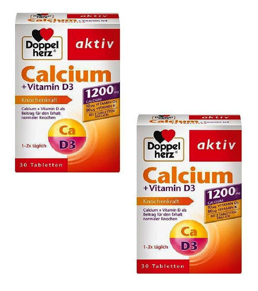2xPack Doppelherz Calcium 1200 +Vitamin D3 & K for Bone Strength (60 Tablets)