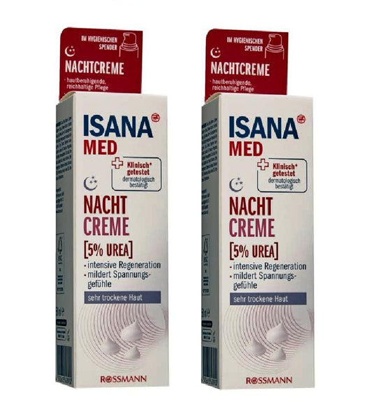 2XPack ISANA Med Urea 5% Night Cream Very Dry Skin Relief All Ages