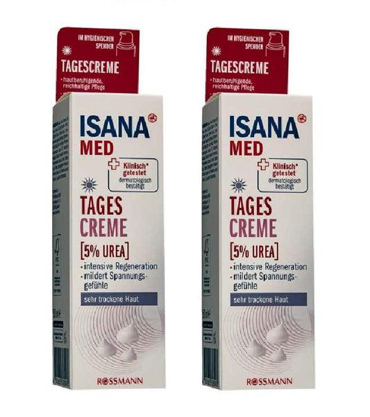 2xPack ISANA Med Urea 5% Day Cream Very Dry Skin Relief All Ages