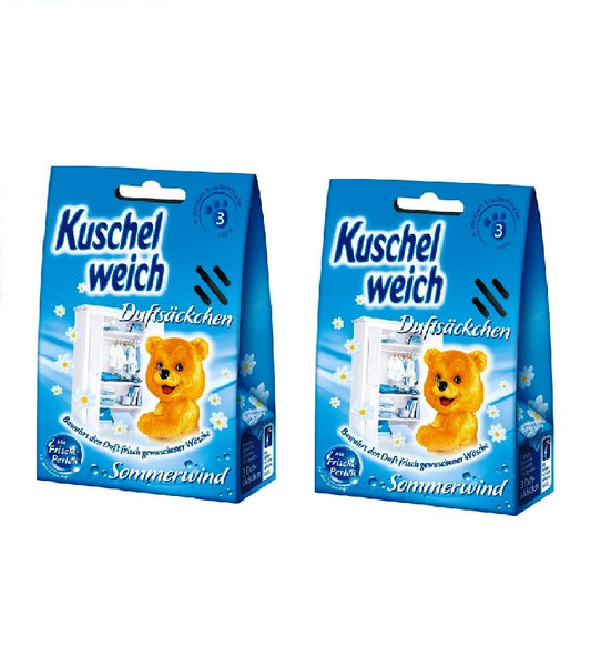 2xPacks of Kuschelweich Fragrance Bags 'Summer Wind' for Fresh Laundry Closet/Wardrobe