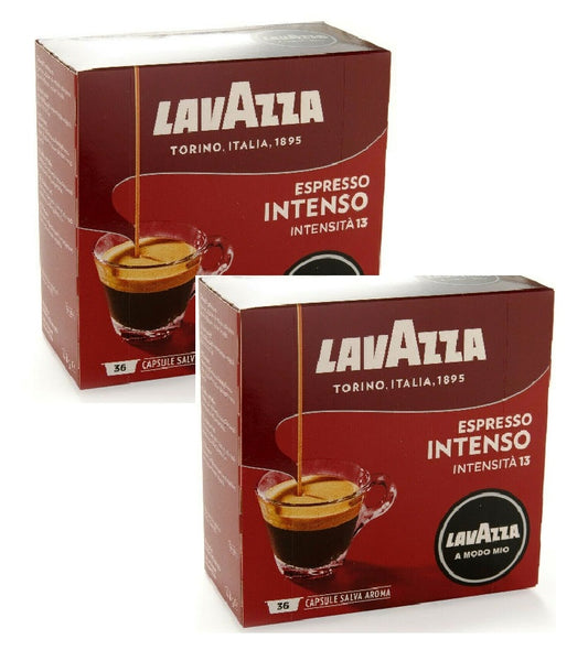 2xPack LAVAZZA Intenso Coffee Capsules for Modo Mios Machines - 72 Capsules
