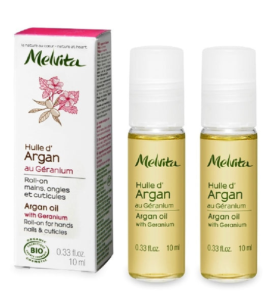 2xPack MELVITA ARGAN AND GERANIUM ROLL ON FACE & BEAUTY OIL - 20 ml