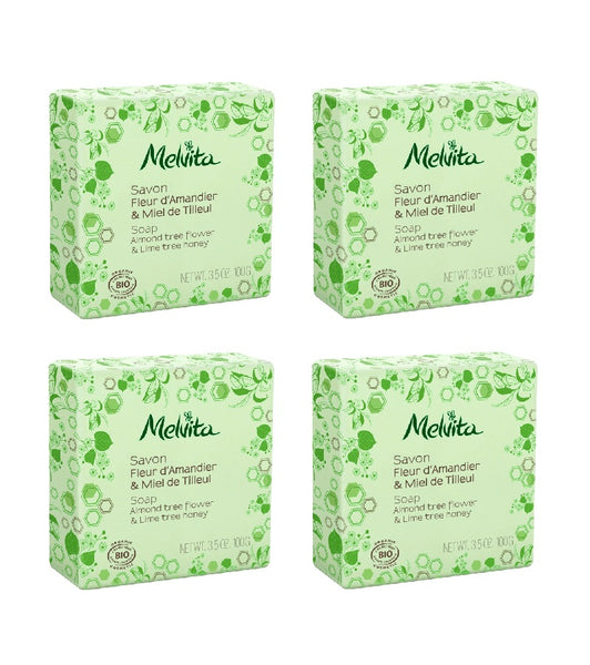 4xPack Melvita Organic Soap WITH ALMOND AND LINDEN HONEY - 400 g