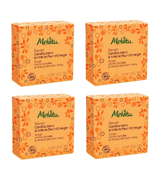 4xPack Melvita Organic Soap with Cameila and Orange Blossom - 400 g