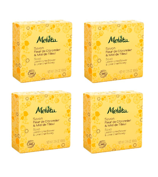 4xPack Melvita Organic Soap WITH LEMON AND LINDEN HONEY - 400 g