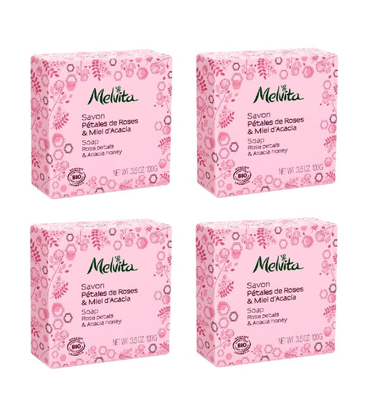 4xPack Melvita Organic Soap with ROSES AND ACACIA HONEY - 400 g