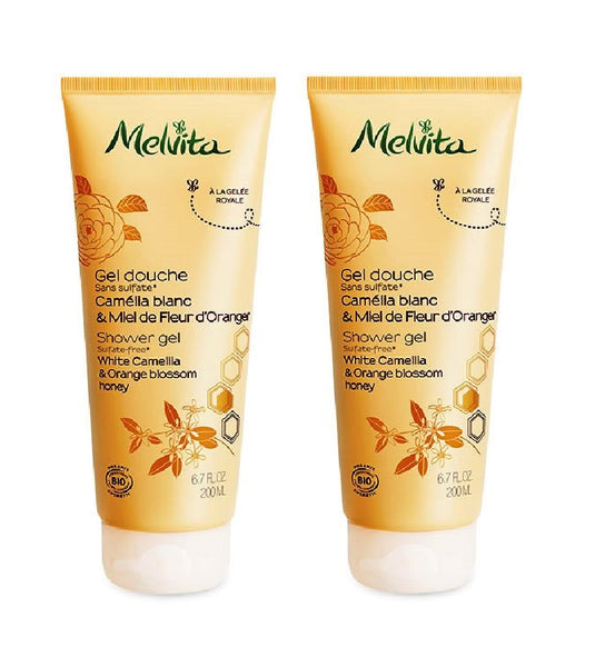 2xPack Melvita Organic Shower Gel WITH CAMELLIA AND ORANGE BLOSSOM HONEY- 400 ml