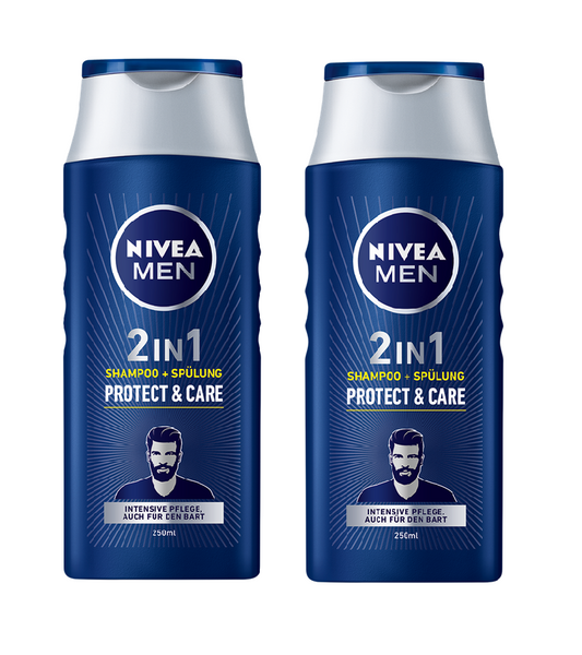 2x Pack Nivea Men 2 IN 1 SHAMPOO + CONDITIONER PROTECT & CARE 250 ml each