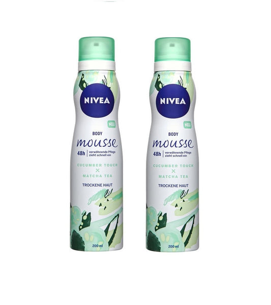 2x Pack NIVEA Body Mousse Cucumber Touch & Matcha Tea - For Dry Skin-200 ml each - Eurodeal.shop