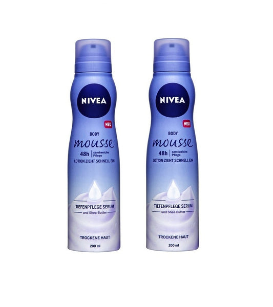 2x Pack NIVEA Body Mousse Velvety Care - For Dry Skin -  200 ml each - Eurodeal.shop