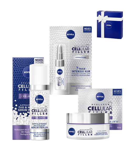 NIVEA Hyaluron Cellular 3-Piece Gift Set- Cream+Serum+Intensive Cure (Men or Women) - Eurodeal.shop