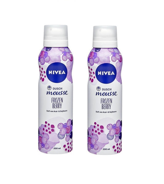 2x Cans NIVEA Shower Mousse - Frozen Berry, 200 ml each - Eurodeal.shop