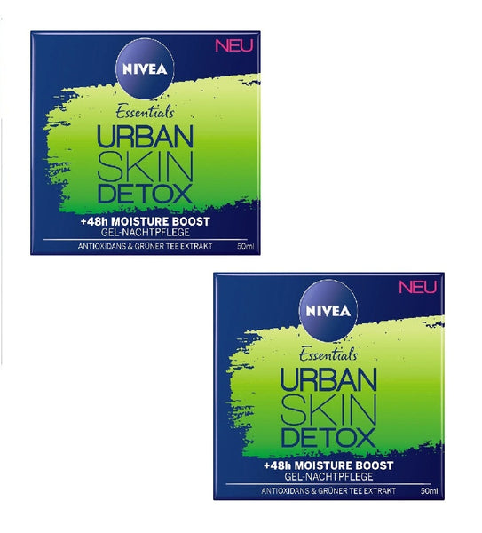 2xPack NIVEA Essentials Urban Skin Detox Gel Night Care +48h Moisture - Eurodeal.shop