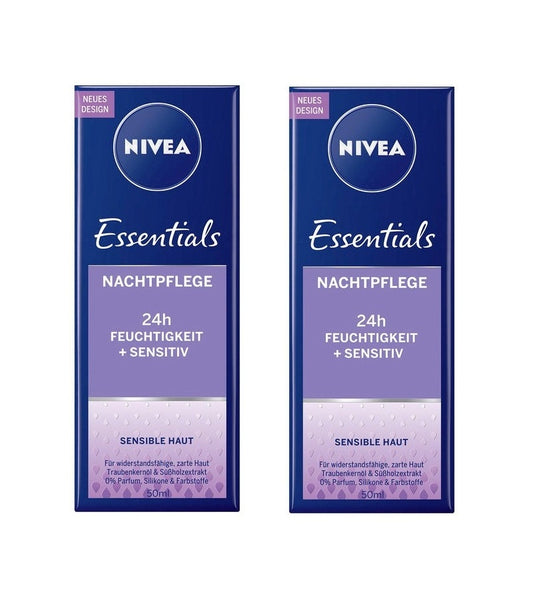 2xPacks NiVEA Essentials Night Cream Licorice Extract & Grape Seed Oil - Eurodeal.shop