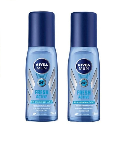 2x Nivea Men Fresh Active 24h Deodorant Roll On 75 ml each (150 ml - Eurodeal.shop