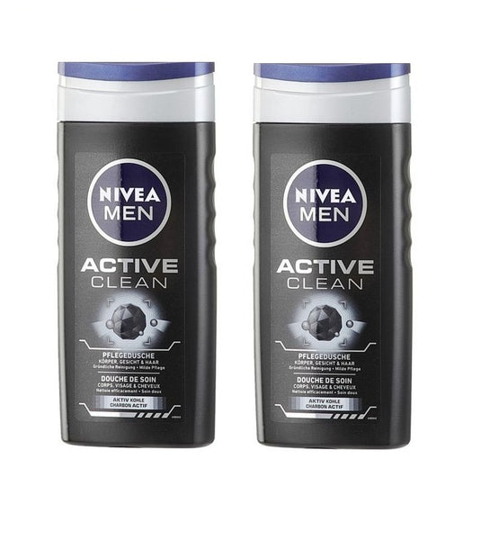 2x 250 ml Nivea Men ACTIVE CLEAN Nursing Shower Body-Face-Hair Gel - Eurodeal.shop