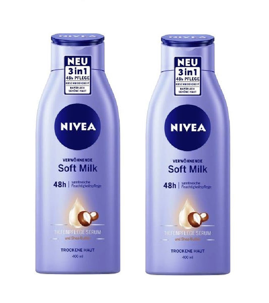 2xPack NIVEA Pampering Soft Milk with Shea Butter - 800 ml