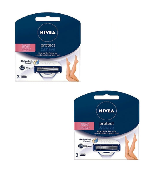 2xPack NIVEA Protect & Shave Ladies Razor Blades 5-Blade Cartridges for Women - Eurodeal.shop