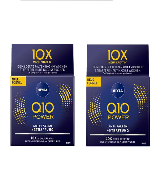 2x Packs NIVEA Q10 Power Anti-Wrinkle Night Care Creme (2x50 ml) - Eurodeal.shop