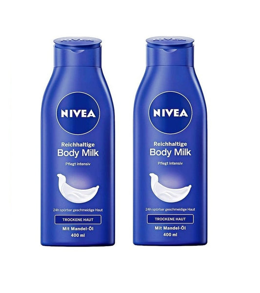 2x Pack NIVEA Rich Body Milk with Almond Oil & Hydra IQ Moisturizer - Eurodeal.shop