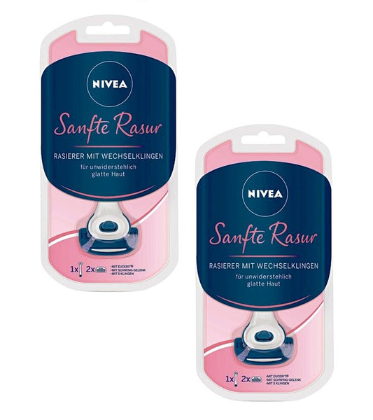 2xPack Nivea Smooth and Gentle Ladies Razor with Interchangeable Blades