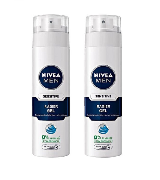 2x NIVEA MEN Shaving Gel for Sensitive Skin (2 Cans 400 ml) - Eurodeal.shop