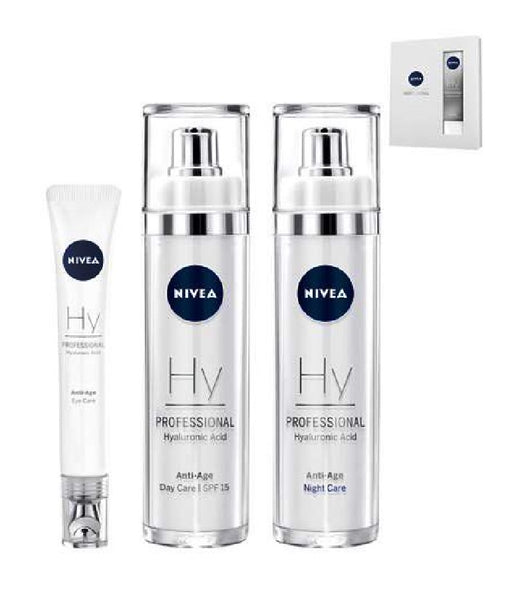 Nivea PADDING AND MOISTURIZING PROFESSIONAL HYALURONIC ACID DAY, NIGHT + EYE CARE SET