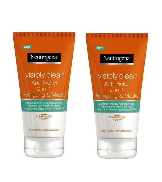 2xPack Neutrogena Visibly Clear Anti-Pimple 2-in-1 Cleansing & Mask - 300 ml