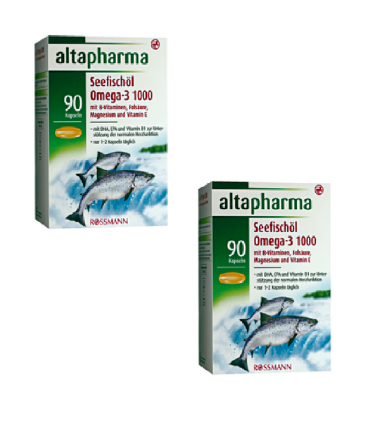 2x Pack Altapharma Sea Fish Oil Omega-3 1000 Supplements w/Fatty Acids - Eurodeal.shop