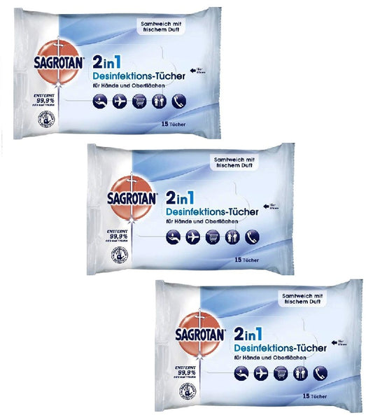 3xPack SAGROTAN 2in1 Disinfectant Wipes - 45 Pcs