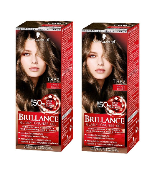 2xPack Schwarzkopf BRILLANCE Tinting Cream 862 - Natural Brown