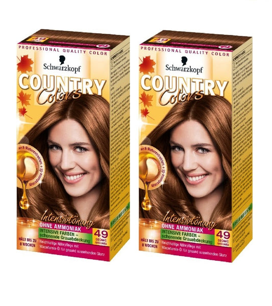 2xPack Schwarzkopf Country Colors Intensive Tint - 49 Cognac Hazelnut