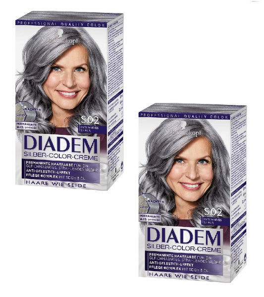 2xPack Schwarzkopf DIADEM Silver Color Hair Cream S02