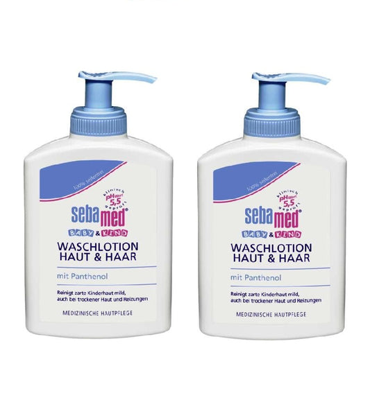 2xPack SEBAMED  Baby & Child Wash Lotion for Skin & Hair - 200 ml each