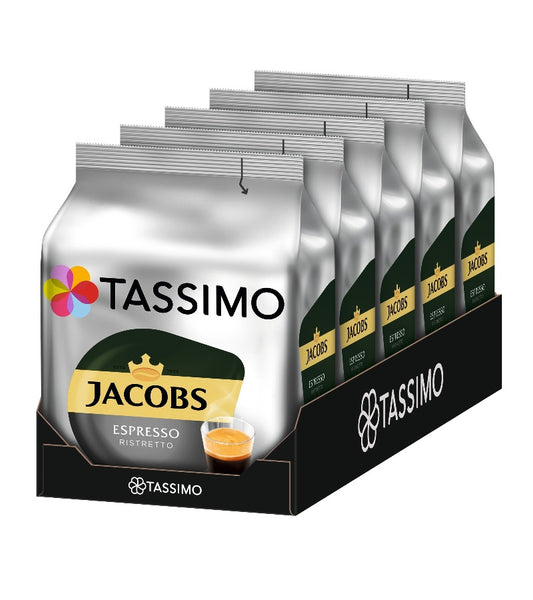 5-Packs TASSIMO Jacobs Espresso Ristretto T Discs Coffee Capsules 5x 16 Drinks
