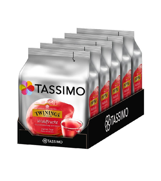 5-Packs TASSIMO Twinings Forest Fruit Tea T Discs Tea Capsules 5 x 16 Drinks