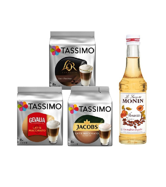 Tassimo® meets Monin® Set 02: Latte Macchiato from Jacobs+Gevalia+L'OR - 3 Varieties+1 Bottle of Monin Amaretto Syrup 250ml