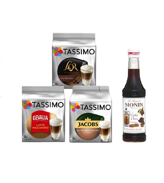 Tassimo® meets Monin® Set 05: Latte Macchiato from Jacobs+Gevalia+L'OR - 3 Varieties+1 Bottle of Monin Cookie Choco Syrup 250ml