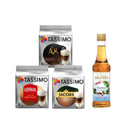 Tassimo® meets Monin® Set 07: Latte Macchiato from Jacobs+Gevalia+L'OR - 3 Varieties+1 Bottle of Monin Hazelnut Light Syrup 250ml