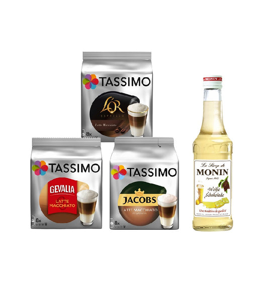 Tassimo® meets Monin® Set 10: Latte Macchiato from Jacobs+Gevalia+L'OR - 3 Varieties+1 Bottle of Monin White Chocolate Syrup 250ml