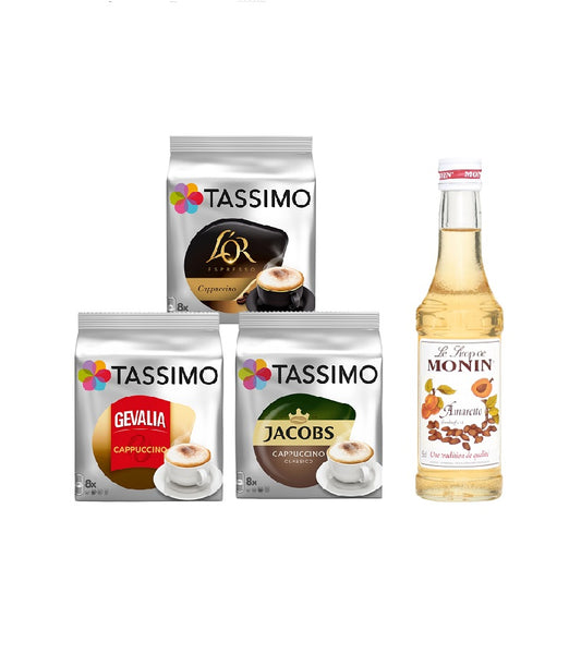 Tassimo® meets Monin® Set 12: Cappuccino from Jacobs+Gevalia+L'OR - 3 Varieties+1 Bottle of Monin Amaretto Syrupl 250ml